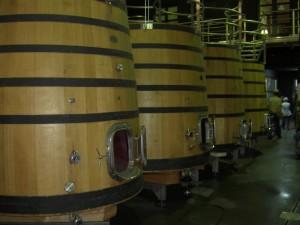 Oak fermenting vats in their modern facility
