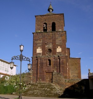 The impressive bell tower of the church of San Miguel