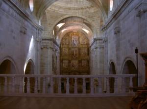 Intricately carved chestnut altar